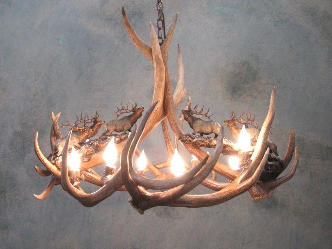 Antler chandeliers for sale real mccoy antler chandelier for sale 551 made in colorado usa 551 the 8 light elk antler chandelier headed high aloadofball Image collections