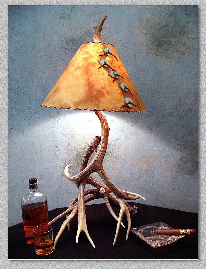 antler table lamps made in colorado of natural real mule. Black Bedroom Furniture Sets. Home Design Ideas