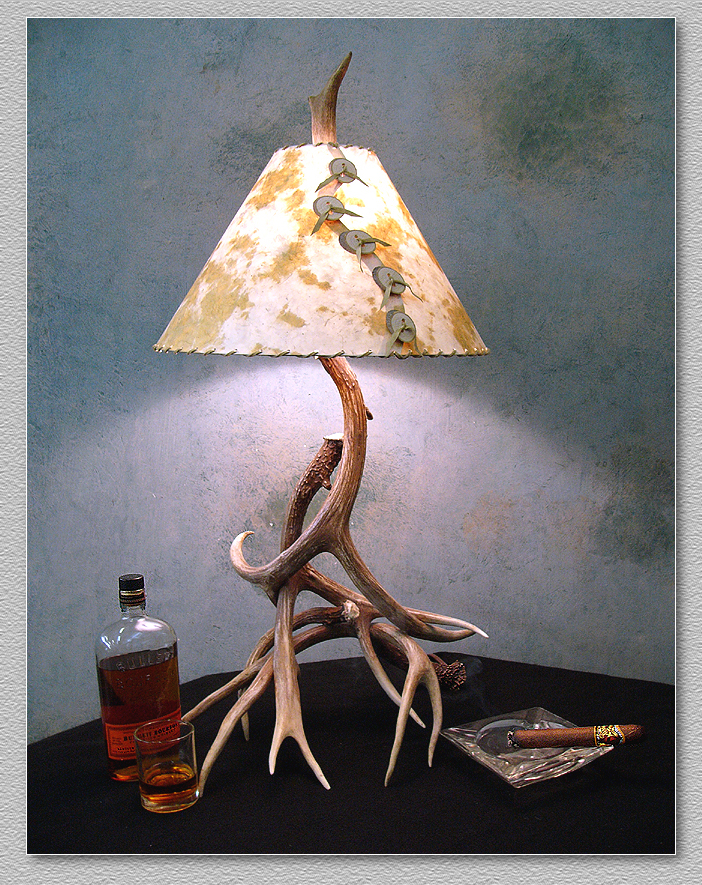 Antler Table Lamps made in Colorado of Natural Real Mule Deer – Real Deer Antler Chandelier