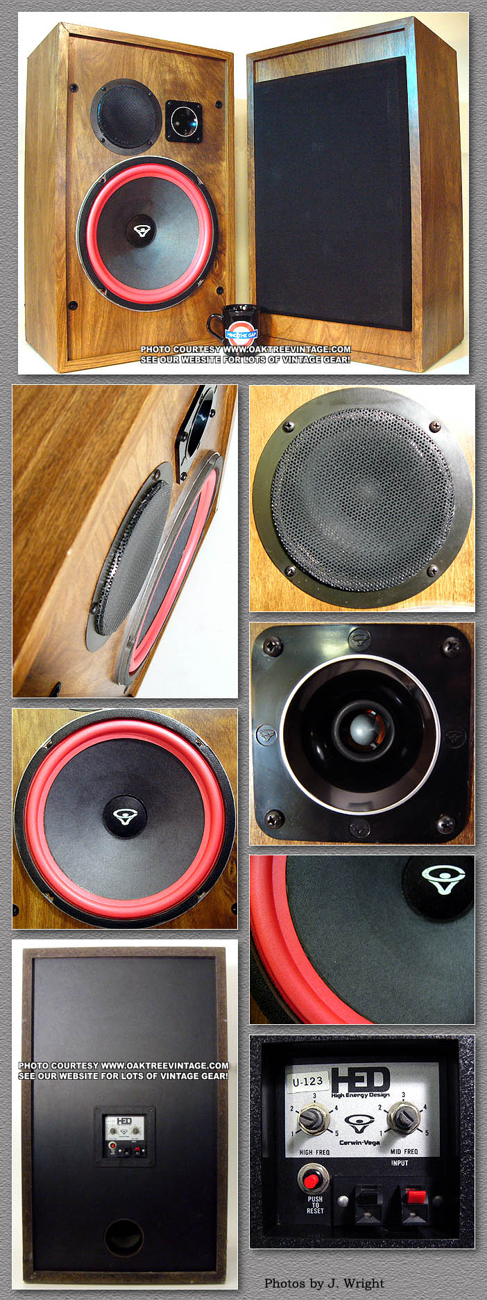 Cerwin Vega / HED Replacement parts for Vintage Cerwin speakers