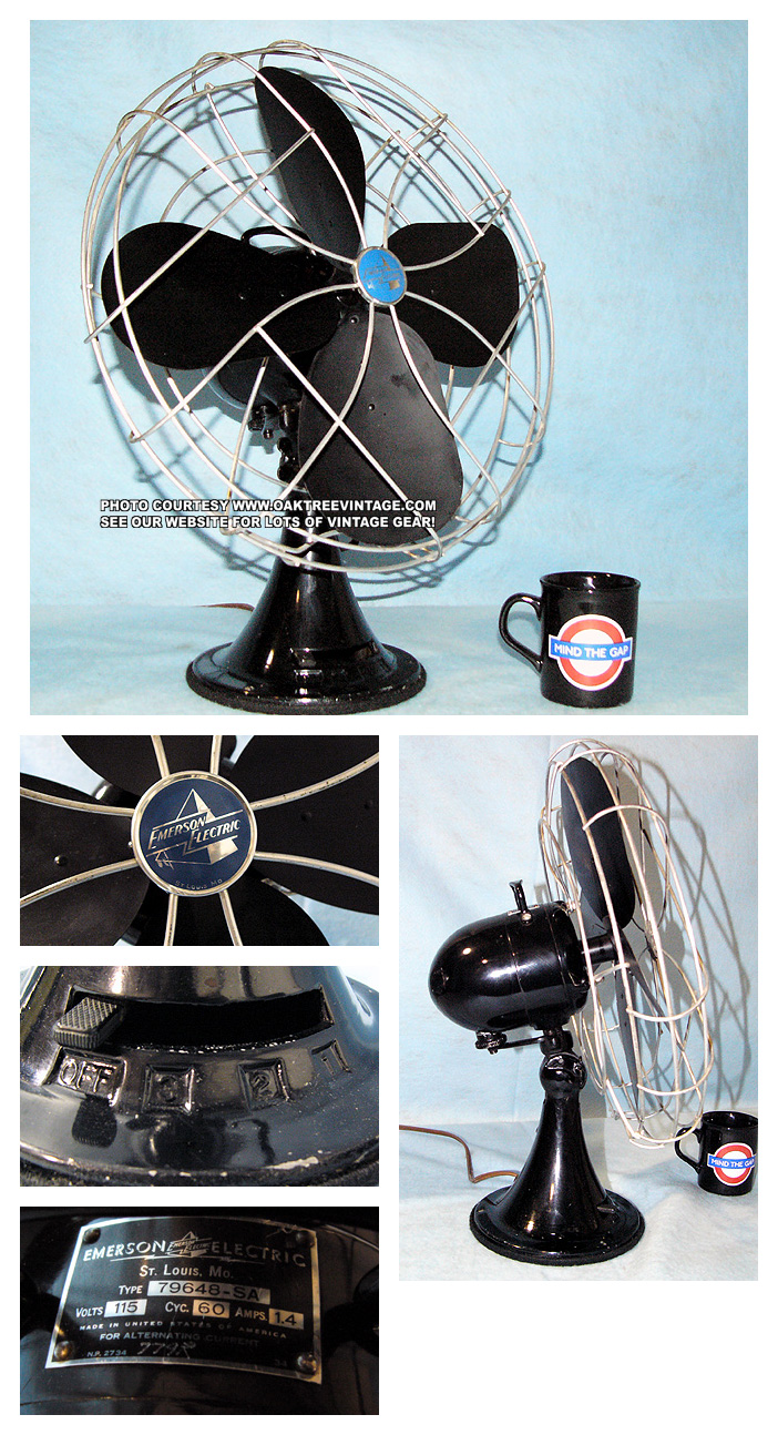 Antique Vintage Electric Fans Restored Refurbished And Ceiling Fan Wiring Diagram Sears Roebuck Reproduction Deco By Emerson Wizard Vornado Zero Breeze