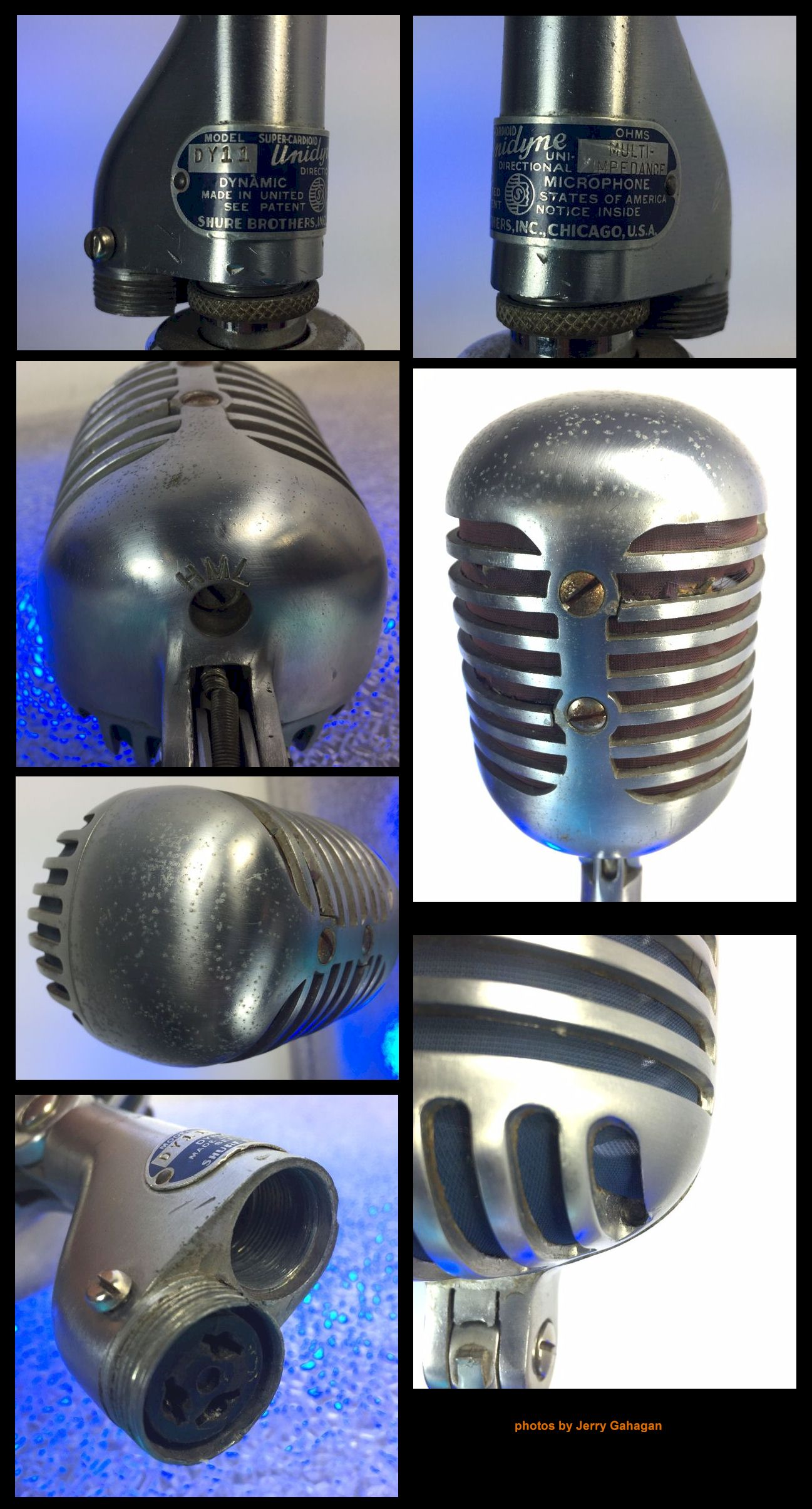 """""""BIG ELVIS"""" MIC BLUE & RED SCREEN Circa '39-early 40's for sale. Classic  Shure 'DY-11' 'Fat Elvis' mic."""