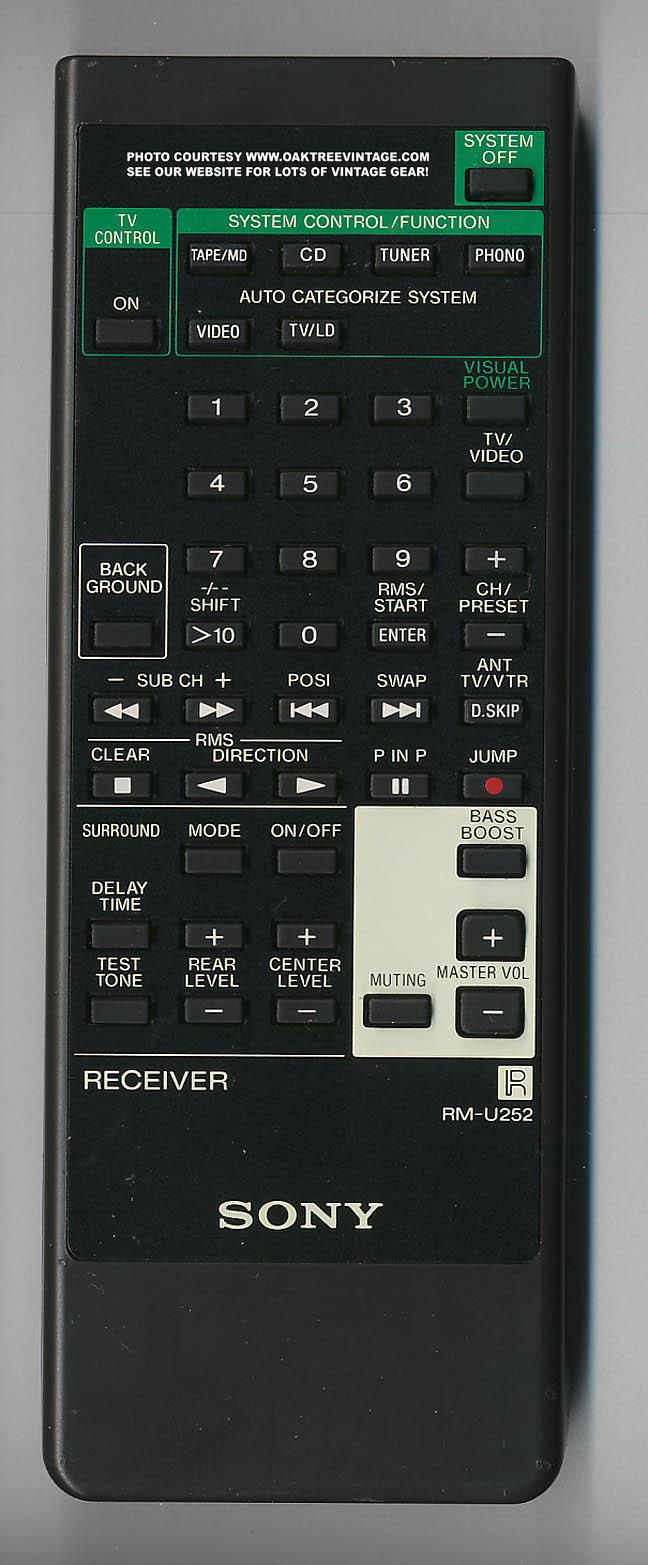 Sony Rm U252 Rmu252 Audio Stereo System Remote Control